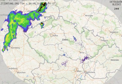 Radar of precipitation + lightnings CZ